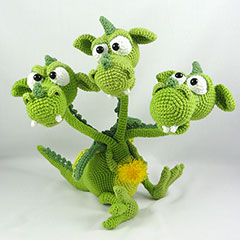 Brutus Brian Boris the three headed dragon amigurumi by IlDikko