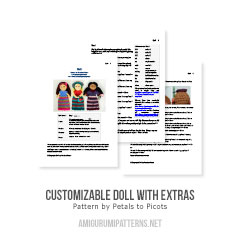 Customizable Doll with Extras amigurumi pattern by Petals to Picots