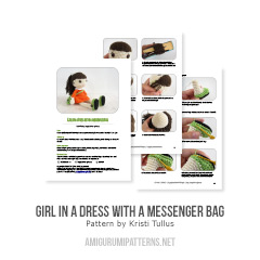 Girl in a dress with a messenger bag amigurumi pattern by Kristi Tullus