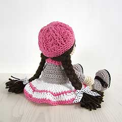 Girl in a dress, jacket, boots and hat amigurumi by Kristi Tullus