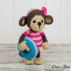 Lily the baby monkey amigurumi pattern by One and Two Company