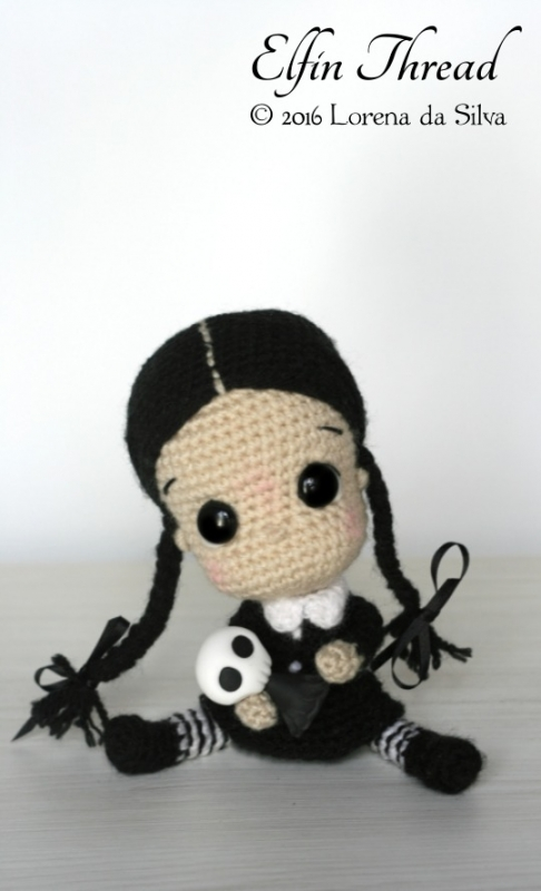 Amigurumi Chibi Doll Pattern Free : Wednesday Addams Chibi Doll amigurumi pattern ...