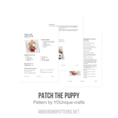Patch the Puppy amigurumi pattern by YOUnique crafts