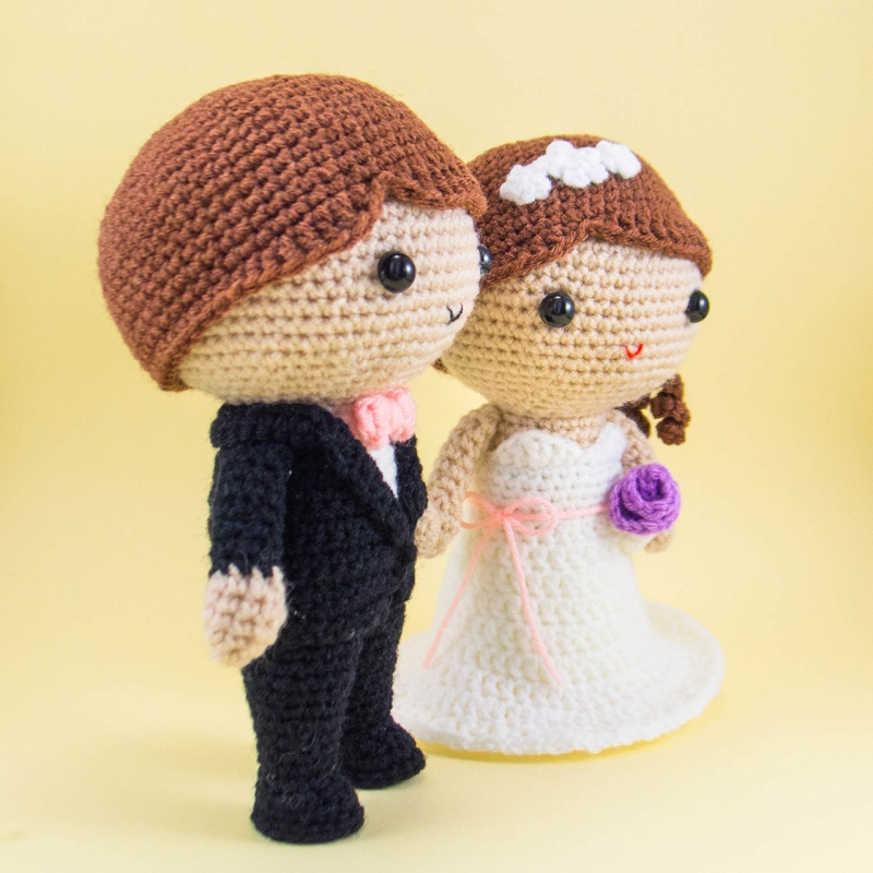 Amigurumi wedding dolls _ couple doll _ crochet couple doll - YouTube | 800x800