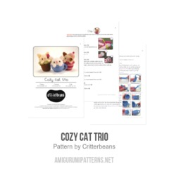Cozy Cat Trio amigurumi pattern by Critterbeans