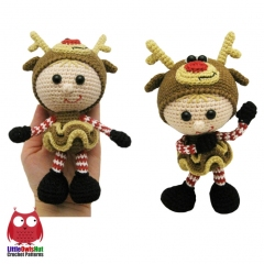 Doll in a Reindeer outfit amigurumi pattern by LittleOwlsHut