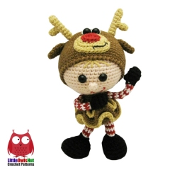Doll in a Reindeer outfit amigurumi by LittleOwlsHut