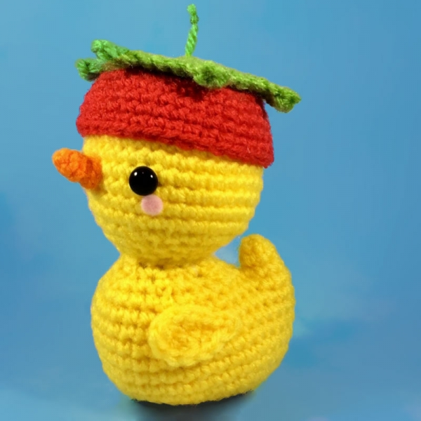 Pudgy Ducky in his Strawberry Hat! amigurumi pattern ...