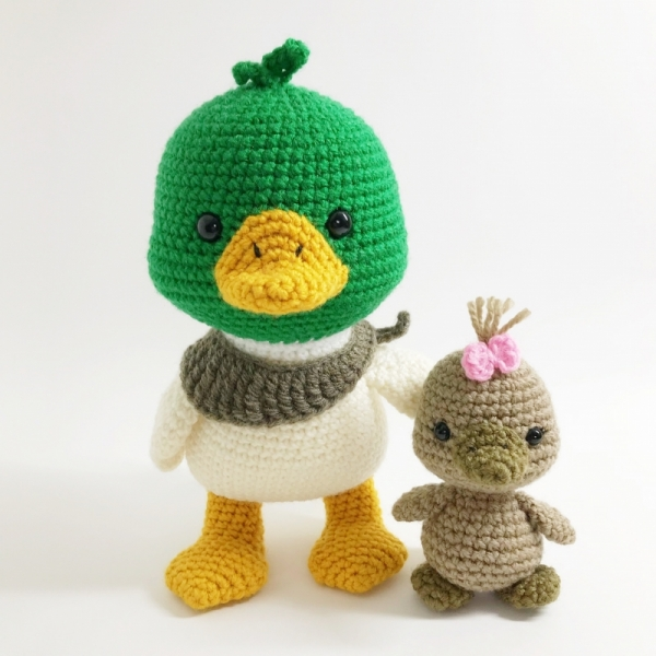 crochet pattern, english or german, duck and duckling | 600x600
