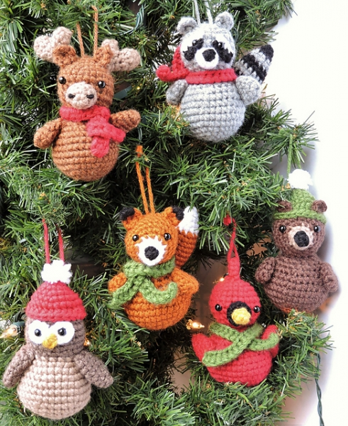 Woodland Animal Christmas Ornaments amigurumi pattern by Crochet to Play - Woodland Animal Christmas Ornaments Amigurumi Pattern
