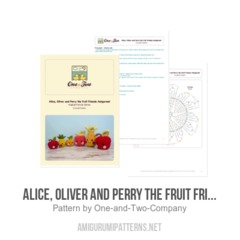 Alice, Oliver and Perry the Fruit Friends amigurumi pattern by One and Two Company
