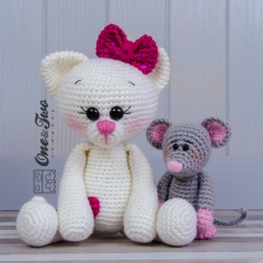 Kissie the Kitty and Skip the Little Mouse  amigurumi by One and Two Company