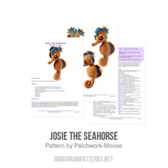 Josie the Seahorse amigurumi pattern by Patchwork Moose (Kate E Hancock)