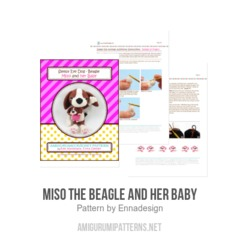 Miso the Beagle and her baby amigurumi pattern by Emi Kanesada (Enna Design)
