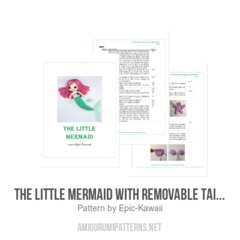 The Little Mermaid with Removable Tail and Fish Friend amigurumi pattern by Epic Kawaii
