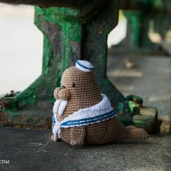 Caterino the sailor walrus amigurumi pattern by airali design