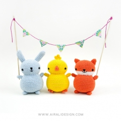 Chubby friends: bunny, chick and fox amigurumi by airali design