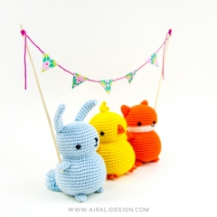 Chubby friends: bunny, chick and fox amigurumi pattern by airali design