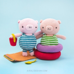 Piglet on holiday amigurumi by airali design
