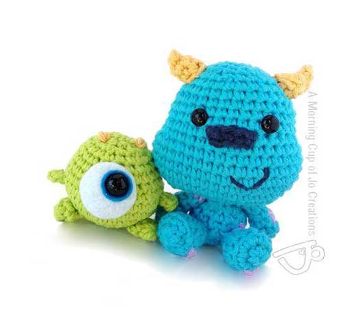 Crochet Amigurumi Baby Monsters With Craftyiscool : Baby Mike and Sulley - Free amigurumi pattern