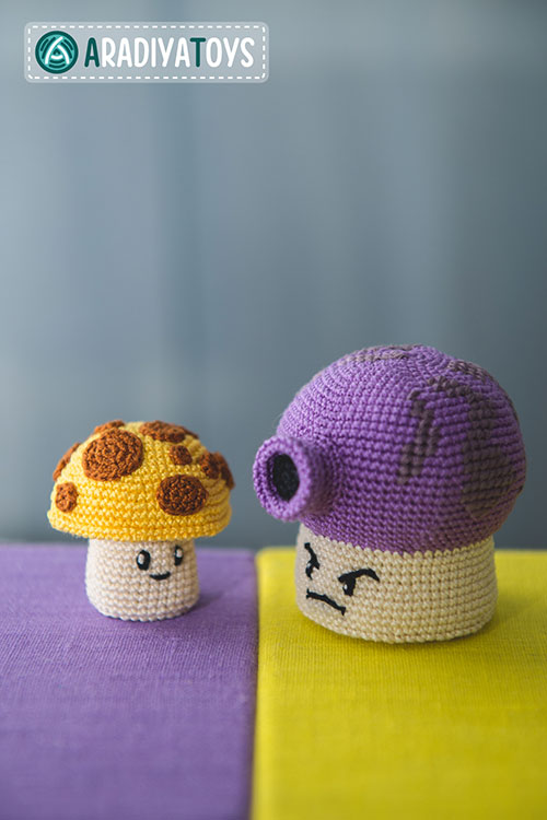 Amigurumi Plants Vs Zombies Patterns : Fume and Sun shrooms (plants vs zombies) amigurumi pattern ...