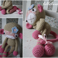 Monkey-girl amigurumi crochet pattern by lilleliis