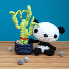 Baby Panda and his Lucky Bamboo amigurumi crochet pattern by A Morning Cup of Jo Creations