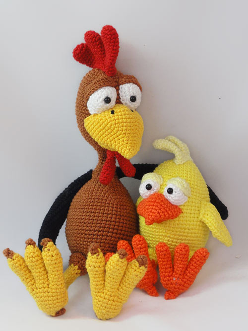 Amigurumi Patterns Chicken : Package: Poultry Paul + Chuck the Chick amigurumi pattern ...