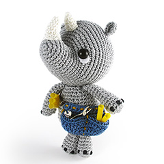Pippo the Rhino plumber amigurumi by airali design