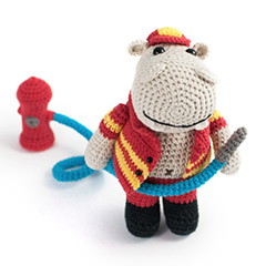Amigurumi Animals at Work - Herry the fireman hippo